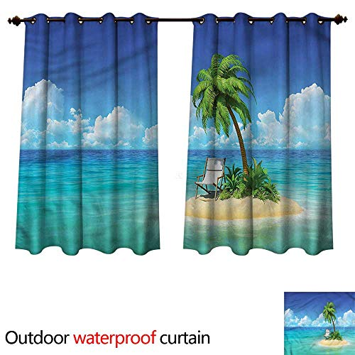 cobeDecor Coastal Home Patio Outdoor Curtain Small Island Chair and Palm W120 x L72(305cm x 183cm)