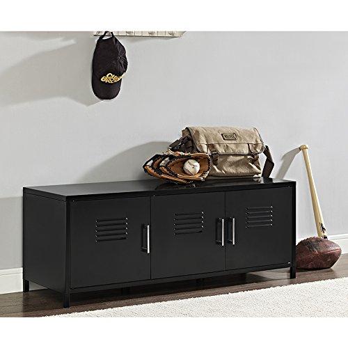 WE Furniture AZM48LSBL Storage Bench (Room Black Locker)