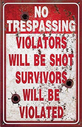 Funny No Trespassing Metal Sign