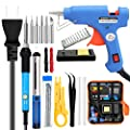 Soldering Iron Kit Electronics,60W Adjustable Temperature Welding Tool,Soldering Gun with 5pcs Soldering Tip,Soldering Iron Stand,20W Glue Gun with Glue Stick,Wire Stripper Cutter,2pcs Electronic Wire