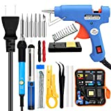 Soldering Iron Kit Electronics, 60W Adjustable Temperature Welding Tool, Soldering Gun Kit with 5 PCS Soldering Tips, Desoldering Pump, Tin Wire Tube, Soldering Iron Stand, Tweezers, 20W Glue Gun with 2pcs Glue Sticks,Wire Stripper Cutter, 2pcs Electronic Wire