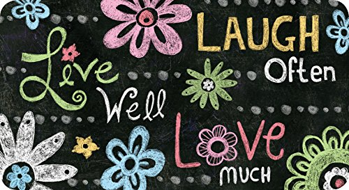 Toland Home Garden Live Laugh Love Chalkboard 20 x 38 Inch Decorative Inspirational Flower Anti Fatigue Comfort Mat