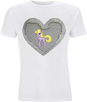 Camiseta Reversible con Lentejuelas, Unicornio, fantasía, Margarita, Pony, Dibujos Animados, Animales, para Hombre, Mujer y niña. Blanco/Blanco L: Amazon.es: Ropa y accesorios