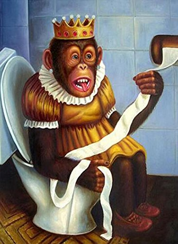24x34cm WY Cartoon Monkey Toilet Full square DIY 5D Diamond Painting Cross Stitch Mosaic Embroidery 3d Diamond painting daimond XY Diamond Monkey