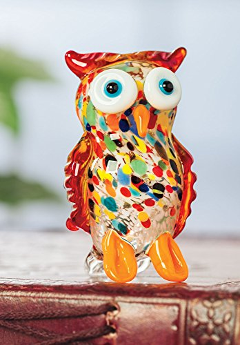 Art Glass Figurine - Miniature Blown Glass Owl Figure