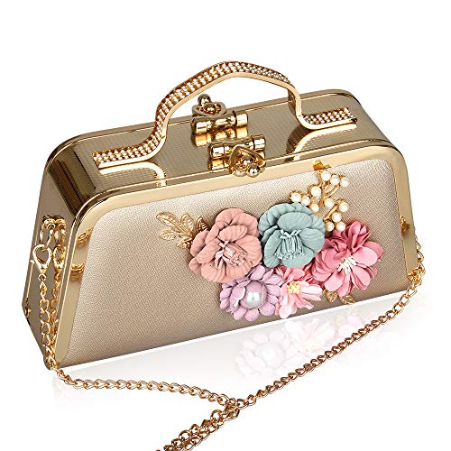 Luxury Gold Floral Evening Bag Metallic Handbag Formal Clutch Leather Ladies Purse for Wedding Party Prom