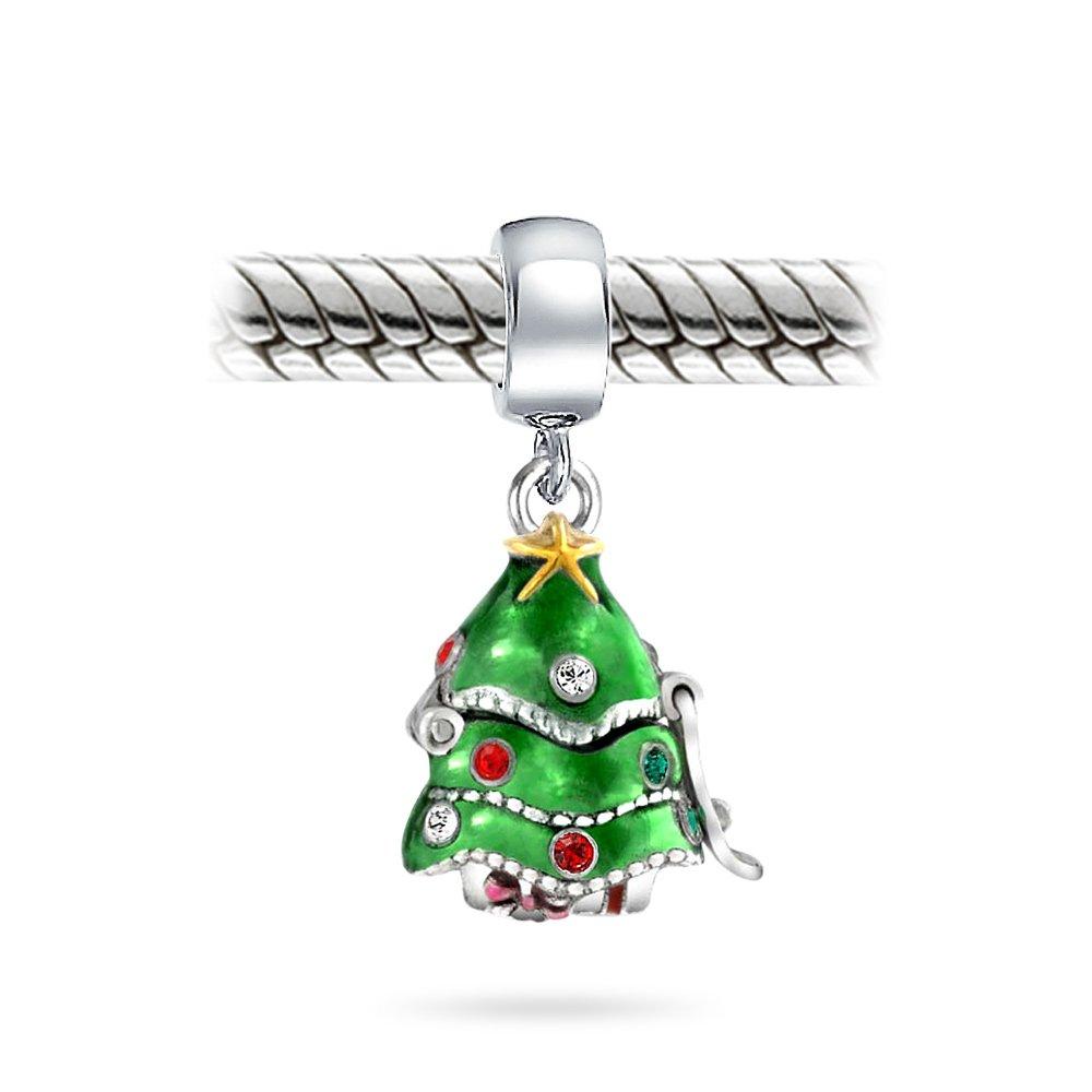 Green Christmas Tree Hidden Santa Claus CZ Dangle Charm Bead For Women Teen 925 Sterling Silver Fits European Bracelet