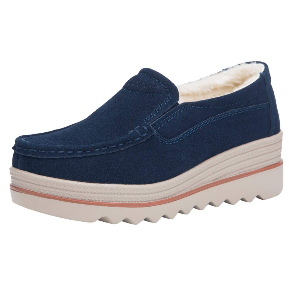 Tefamore Mode Femmes Flats Muffin Chaussures Sneakers Suede Shoes Casual Gardez Chaussures Chaudes