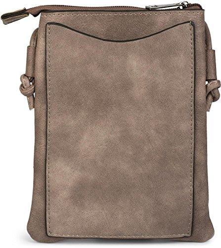 styleBREAKER Mini Bag Umhängetasche mit Zick-Zack Cutout und Nieten, Schultertasche, Handtasche, Tasche, Damen 02012211, Farbe:Taupe Taupe