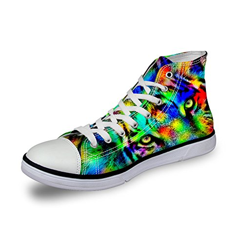 Animal U Lace Fashion Sneakers DESIGNS amp; Top Women High Tiger FOR Comfortable Men Canvas up Print qtUHURT