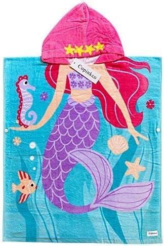 Mermaid Girl Hoomall Kids Bath Towel for Girls Mermaid Girl Child Hooded Beach Towel Fast Drying Ultra Absorbent Poncho for Bath//Pool//Beach Swim Cover