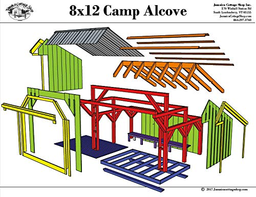 Step-By-Step DIY PLANS - Timber Frame Post and Beam Adirondack Lean-To Shelter Plans - 8x12 Camp Alcove - Small Camping Structure with Built-in Bench - Step-By-Step DIY Plans (8x12) (For Log Sale Benches)