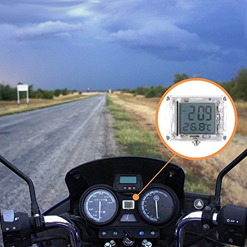 - FORNORM Motorcycle Clock Waterproof Stick On, Luminous Clock with Backlight, 12H Format Time and Temperature Display