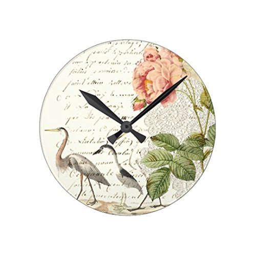Elegant Vintage Shabby Peonies Birds Antique Wall Clock Decor For Living Room Nursety Wood Wall Clock Art For Kids Kitchen Bedroom Decorative 12 Inch (Clock Decorative Wall Peonies)