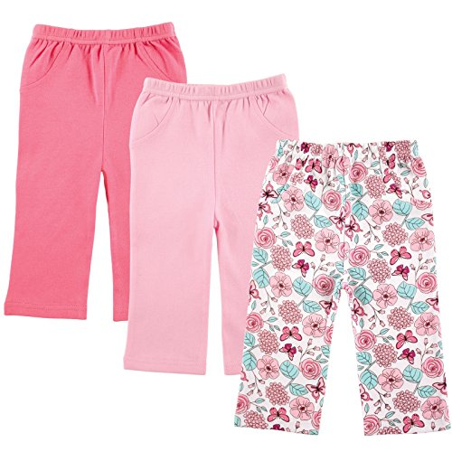 Luvable Friends 3-Pack Printed Pants, Pink Flowers, 6-9 Months