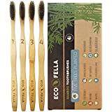 ECOFELLA Natural Bamboo Tooth Brush Set with Charcoal Bristles for Teeth Whitening   BPA Free & Soft for Sensitive Gums   4x Individually Numbered   Plant 5 Trees for Free   Incl. Zero Waste EBOOK