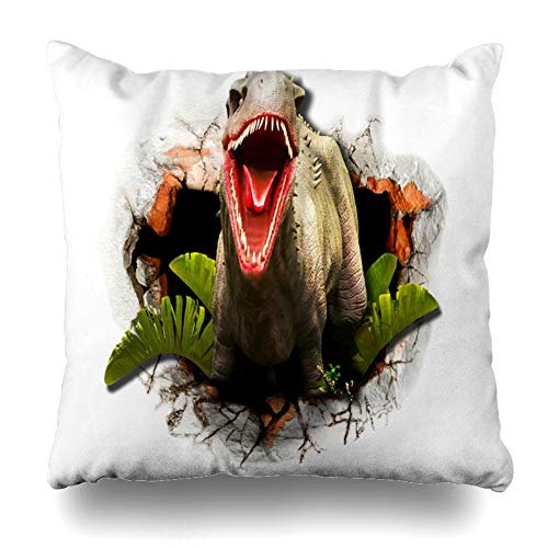 Ahawoso Throw Pillow Cover Charging Gray Abstract Elephant Out Jungle Threat Wall Rendering Africa Aggression Big Design Home Decor Pillowcase Square Size 18 x 18 Inches Zippered Cushion Case ()