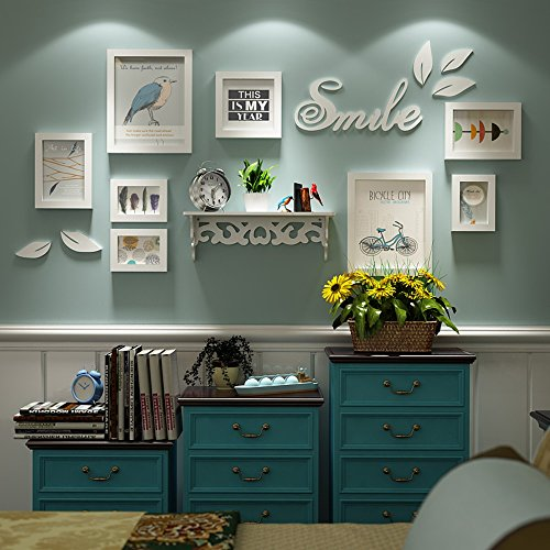 Photo Wall, Bird Wall Sticker Frame Combination, Small Wall Solid Wood Photo Wall, Frame Wall, Living Room Wall (Color : 1#)