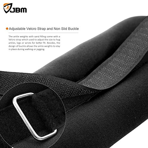 JBM Ankle Weights Wrist Leg Weights Sand Filling 2lb 4lb 6lb (A Pair) Adjustable Straps for Walking Jogging Gym Fitness Exercise Gymnastics Aerobics Black Red Gray