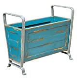Turquoise Blue Vintage Style Storage Container | Retro Aqua Magazine Holder Metal Wood