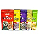 Marshall Bandits Premium Ferret Treats Variety Pack - 5 Flavors (Chicken, Raisin, Peanut Butter, Banana, and Meaty Bacon) - 3 Ounces Each (5 Total Pouches)