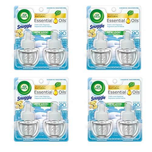 (Air Wick Scented Oil 8 Refills, Snuggle Fresh Linen, (4X2x0.67oz), Air Freshener