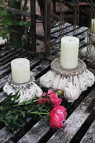 Square Hand Carved Mango Wood Column Pillar Candle Holder Distressed Cream Finish Country Home D
