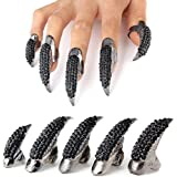 Finger Claw,Pupow Halloween Punk Style Crystal Rhinestone Paved Paw Bend Fingertip Cos Play Finger Claw Ring Set for Halloween Parties Fake False Nails Set 10 PCS (Black) by Pupow