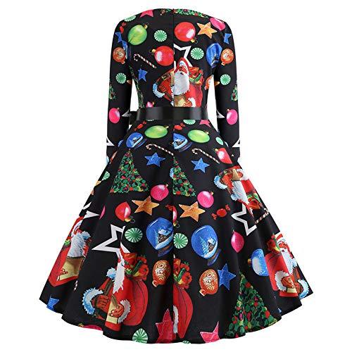 Elegante Partito A Nero Vestiti Signore Tunica Longra Natale Swing Lunghe Stampa Maniche 1 Palline Sera Abito Di Da Donna Vintage vestiti Vestire 3j5Rq4LA