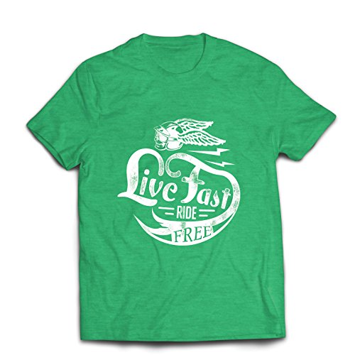 lepni.me Camisetas Hombre Live Fast Die Free - Ropa de Ciclista clásica, Equipamiento de Moto, Refranes de Moto (XX-Large...