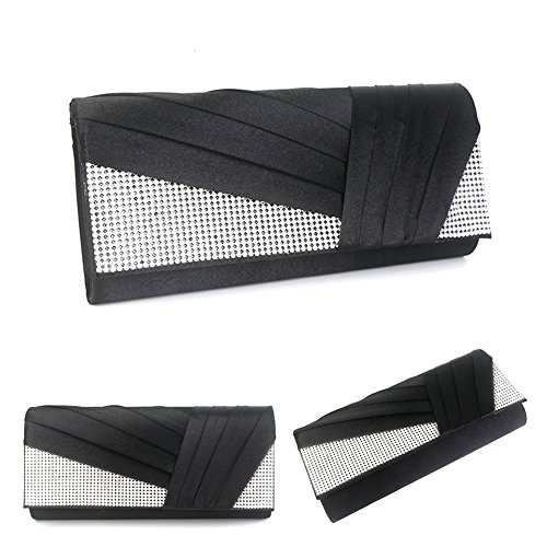 Satin Elegant Crystal Bag Purse Fashion Clutch Womens Black Jubileens Evening Pleated tcApBZqq