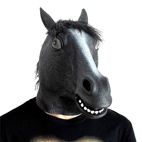 Fly Halloween Styling Props Ball Party Horse Head Mask Latex Game Funny Party Supplies mask (Color : Black) ()