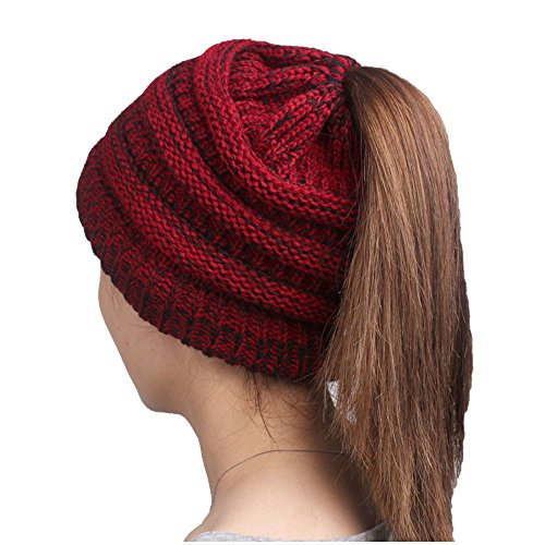 Mellons Women's Winter Chunky Soft Stretch Cable Knit High Bun Ponytail Beanie Hat (One Size, Black Red) - Red Winter Beanie