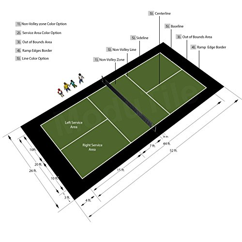 26ft x 52ft Outdoor Pickleball Court Flooring Lines and Edges Included - Green/Black by BlockTile