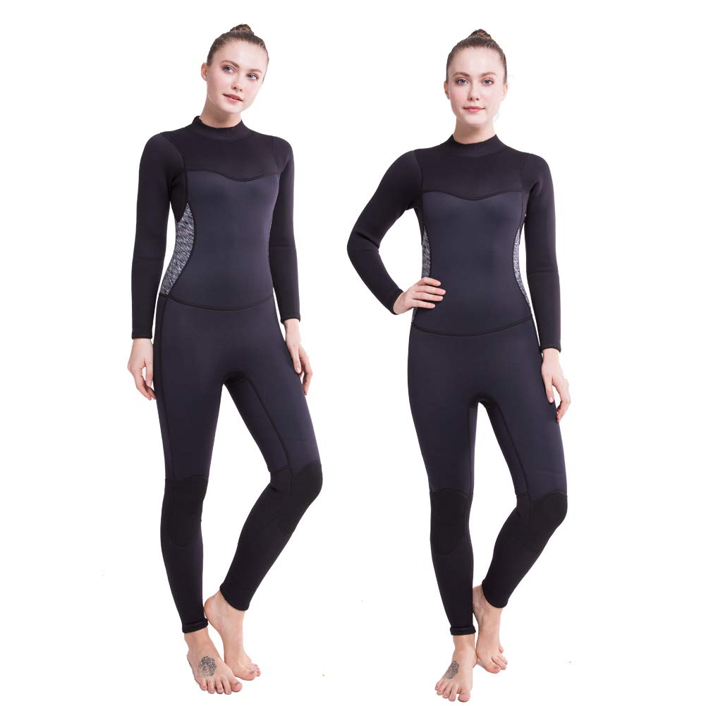 Flexel Full Wetsuit Womens Surf Wet Suit with 3mm Premium Neoprene Scuba Diving Suits for Swimming, Surfing, Snorkeling, Kayaking, Paddle Boarding Jumpsuits(Black/White S) by Flexel