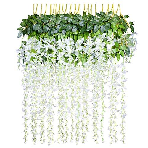 (12pcs Artificial Fake Wisteria Vine Garland-GreenDec 3.6Ft/Piece Silk Wisteria Vine Ratta Hanging Flower for Home Garden Wedding Decor (White))