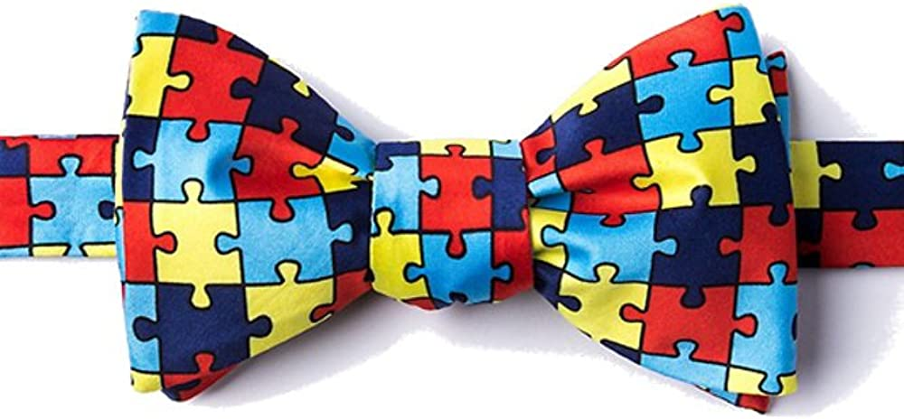 Men's Help Spread Autism Awareness Puzzle Symbol Butterfly Self Tie Bow Tie