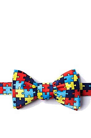 Mens Help Spread Autism Awareness Puzzle Symbol Butterfly Self Tie