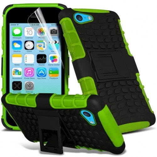 Apple iPhone 5c Shockproof Case Cover (Green) Plus Free Gift, Screen Protector and a Stylus Pen, Order Now Best Valued Phone Case on Amazon! By FinestPhoneCases