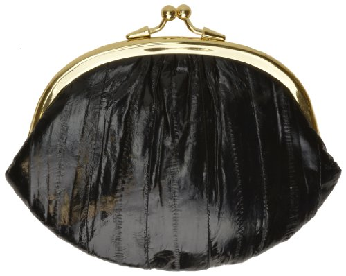 Skin Purse Eel (Double Eel Skin Change Purse style - eelskchpudo (Black))