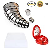 Markmesafe Round Cookie Biscuit Cutter Set - 12 Pcs Stainless Steel Baking Metal Circle Ring Molds for Pastries, Baking, Desserts, Muffins, Scones, Fondant +1 Pcs Strawberry Slicer+1 Pcs Cake Scraper