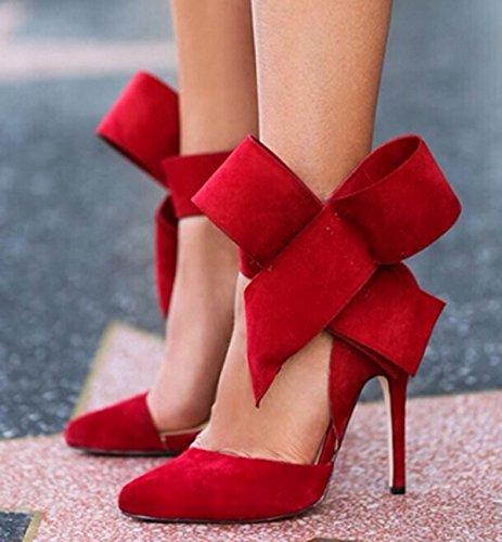 GRRONG Zapatos De Mujer Zapatos De Tacón Alto Las Mujeres Escoge Los Zapatos De Gran Tamaño Red