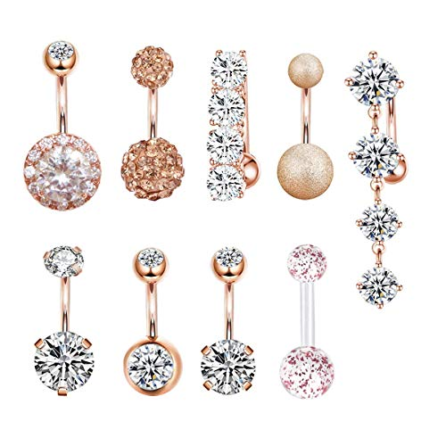 CZCCZC 14G Stainless Steel Belly Button Rings for Women Girls Mixed Navel Rings Body Piercing Jewelry (9pcs(Rose Gold))