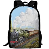 YIXKC Adult Backpack Steam Train And Railway School Bag Travel Daypack