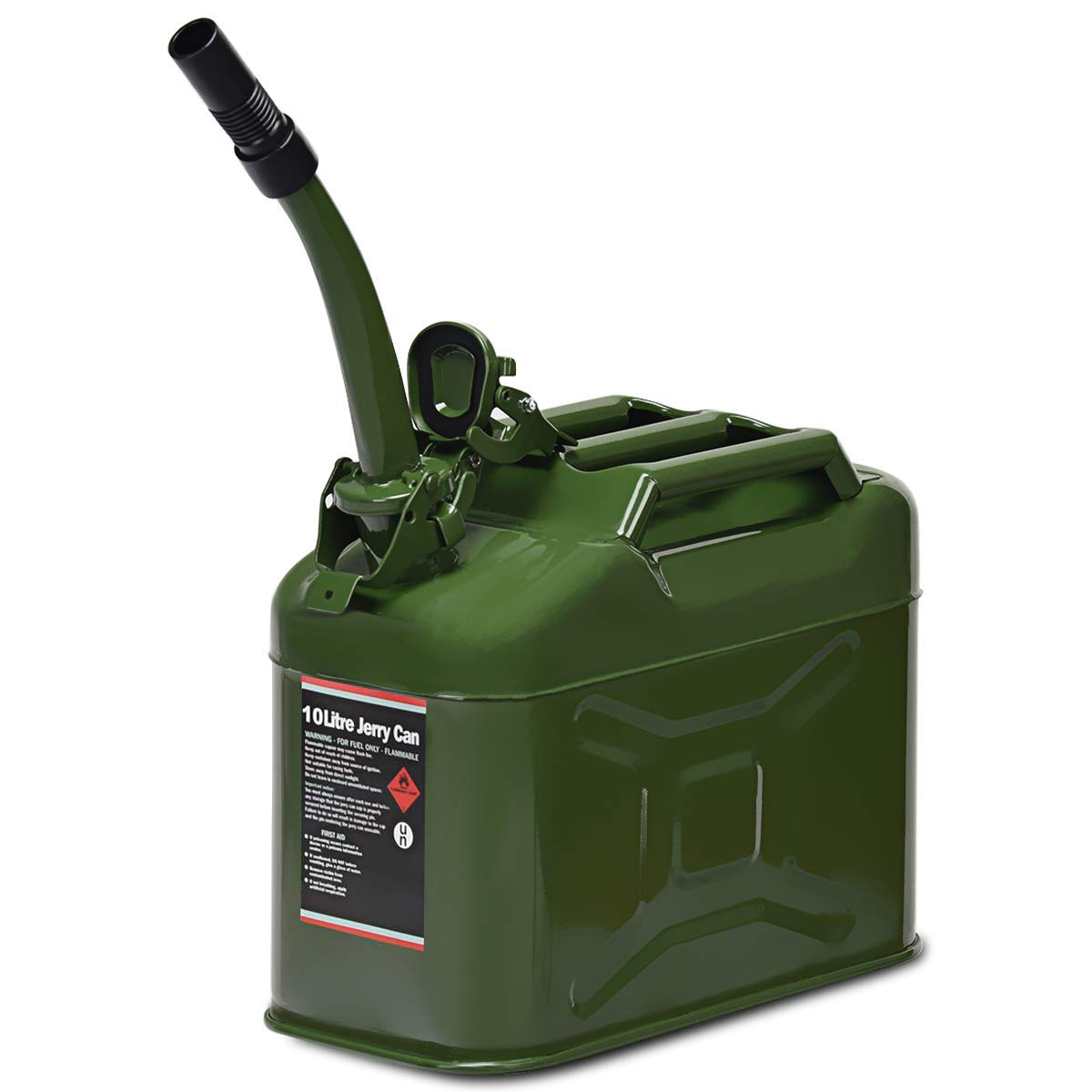 Goplus 10 Liter (2.5 Gallon) Jerry Fuel Can with Flexible Spout, Portable Jerry Can Fuel Tank Steel Fuel Can, Fuels Gasoline Cars, Trucks, Equipment (Army Green)