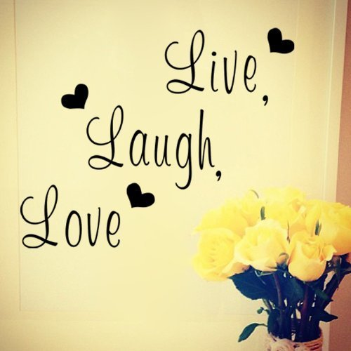 Free Will Live Laugh Love Quote with love Hearts Removable Wall Decal Decor Wall Sticker