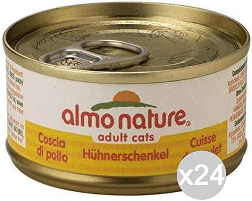 Juego de 24 Almo Nature para Gatos 5017 Lata 70 Muslo de Pollo Comida para Gatos