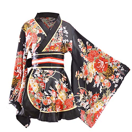 Kimono Bathrobe Costume Japanese Traditional Yukata Cosplay Women's Sexy Sakura Pattern (Black) -