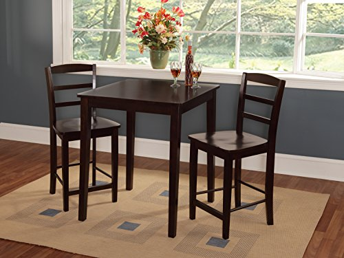 Madrid Dining Room Set - International Concepts 30 by 30-Inch Counter Height Table with 2 Madrid Stools, Set of 3
