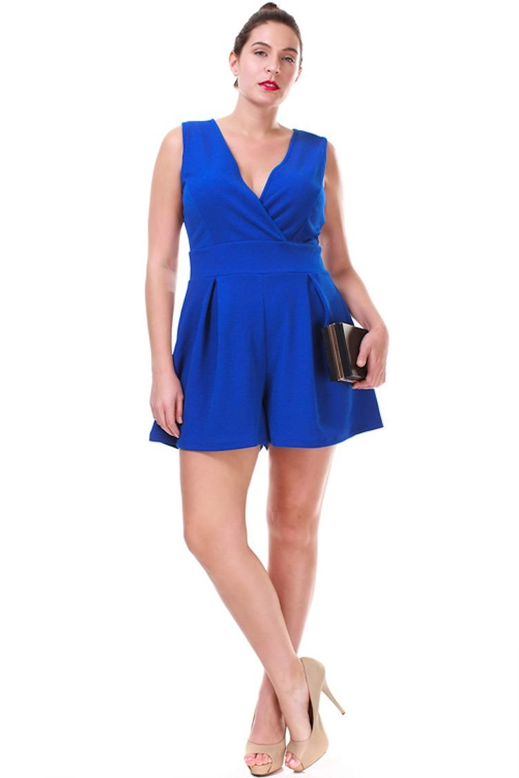 c80523c07765 Amazon.com  Nyteez Women s Plus Size Pleated Romper Short Jumpsuit  Clothing